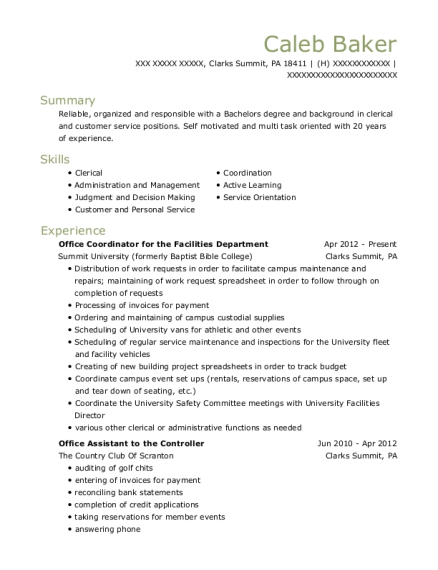 Office Coordinator for the Facilities Department resume template Pennsylvania