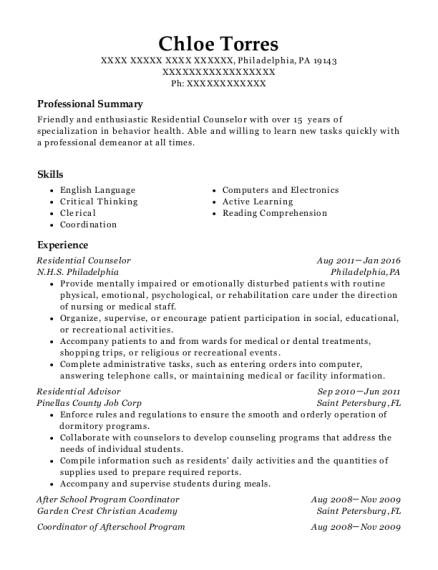 Residential Counselor resume example Pennsylvania
