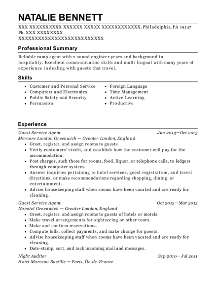 Guest Service Agent resume example Pennsylvania