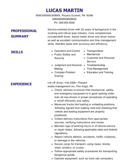 roll off driver resume template Pennsylvania