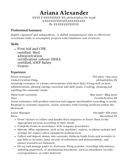 House manager resume example Pennsylvania
