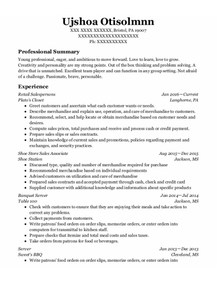 Shoe Store Sales Associate resume format Pennsylvania