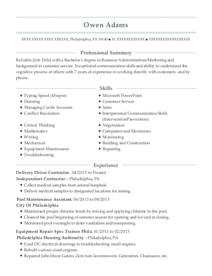 Delivery Driver Contractor resume template Pennsylvania