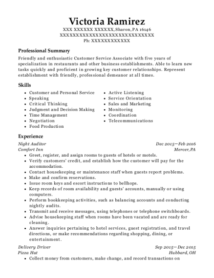 Night Auditor resume sample Pennsylvania