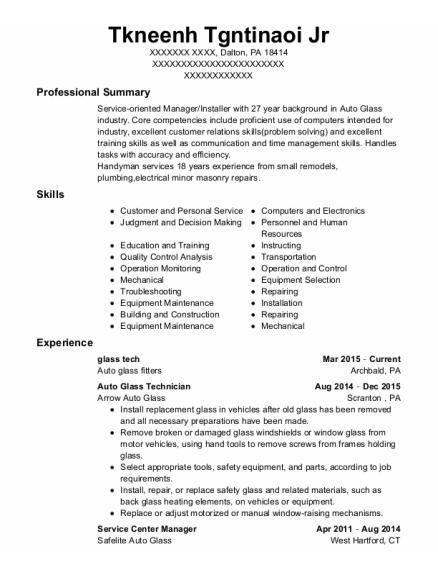 Applied Image Glass Technician Resume Sample - Irondequoit