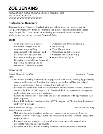resume examples for financial analyst  best resume examples