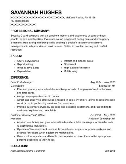 Front End Manager resume format Pennsylvania