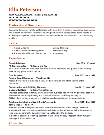 Guest Relations resume template Pennsylvania