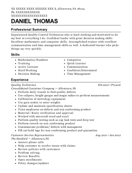 Quality Technician resume template Pennsylvania