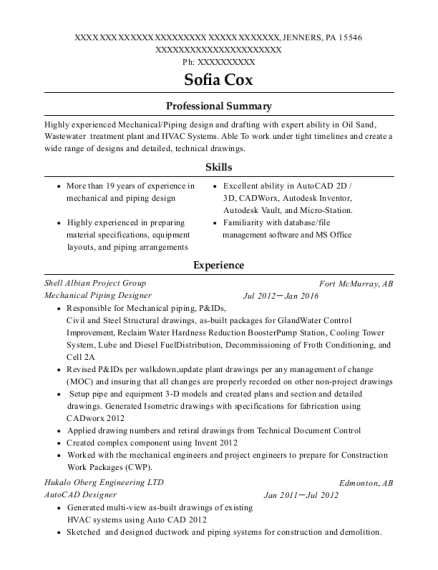 Mechanical Piping Designer resume example Pennsylvania