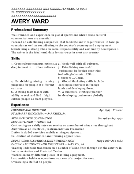 FOUNDER AND DIRECTOR resume format Pennsylvania