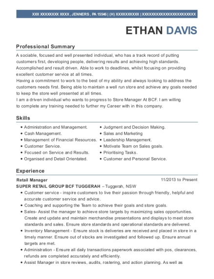 Retail Manager resume sample Pennsylvania