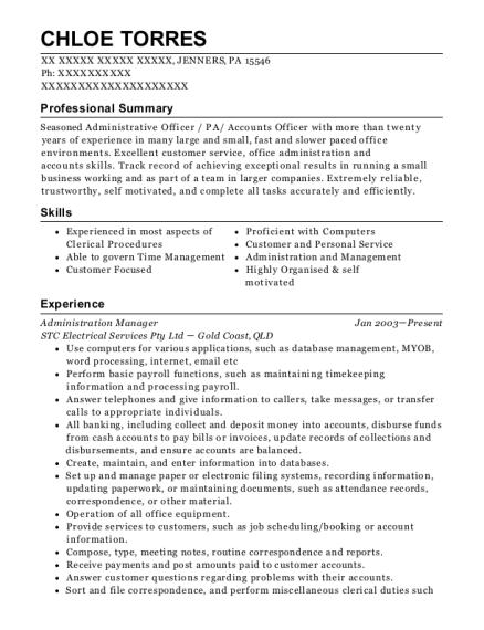 Administration Manager resume example Pennsylvania