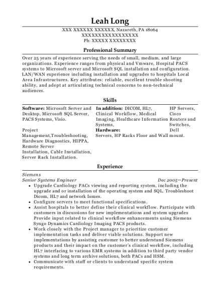 Senior Systems Engineer resume format Pennsylvania