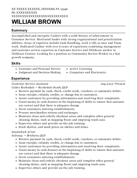 Customer Service Assistant resume sample Pennsylvania