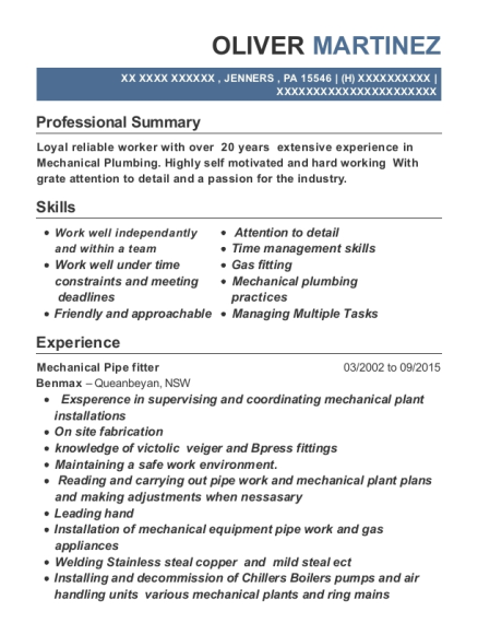 Mechanical Pipe fitter resume example Pennsylvania
