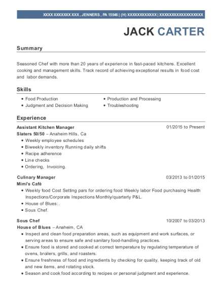Assistant Kitchen Manager resume sample Pennsylvania