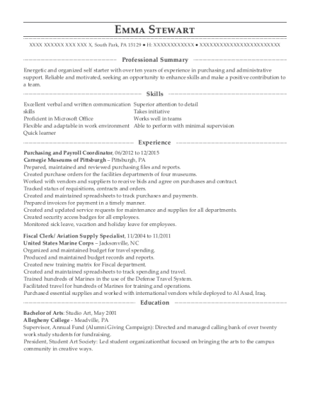 Purchasing and Payroll Coordinator resume template Pennsylvania