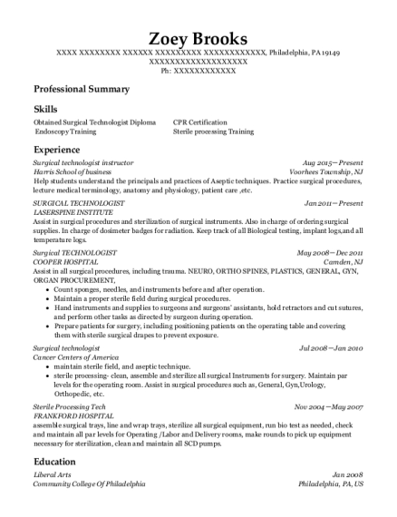 Surgical technologist instructor resume template Pennsylvania