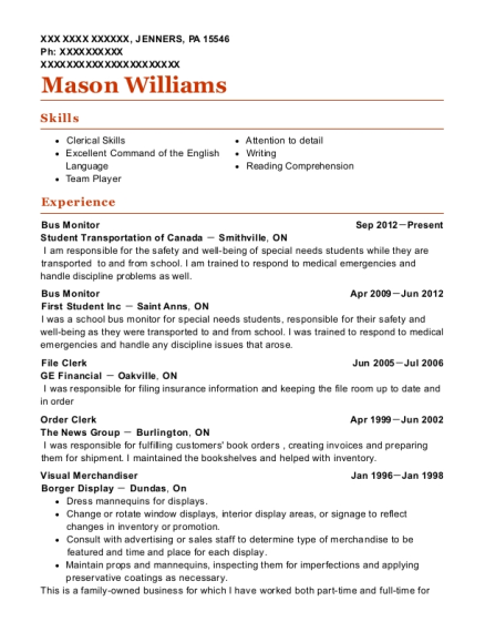 Bus Monitor resume example Pennsylvania