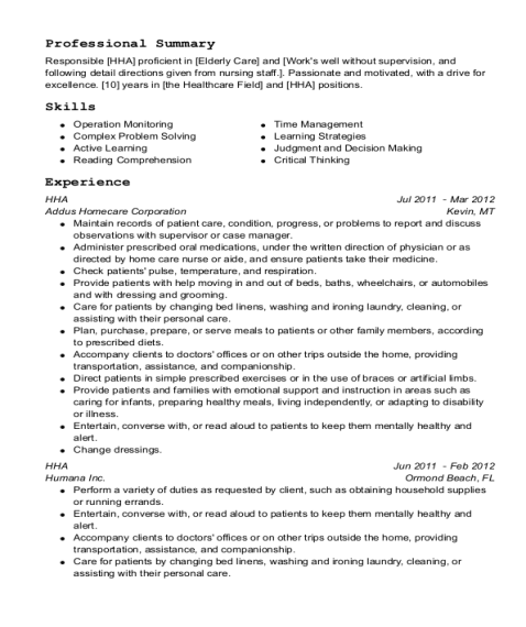 HHA resume example Pennsylvania