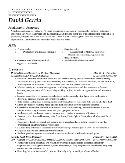 Production and Inventory Control Manager resume sample Pennsylvania