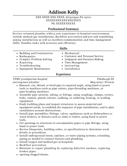Journeyman Plumber resume sample Pennsylvania
