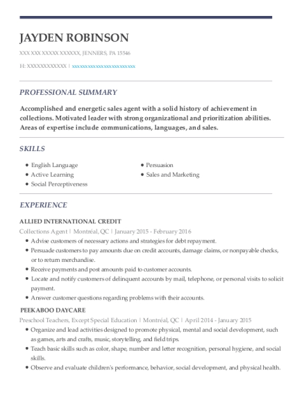 Collections Agent resume template Pennsylvania