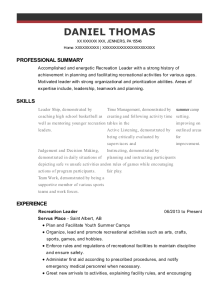 Recreation Leader resume example Pennsylvania