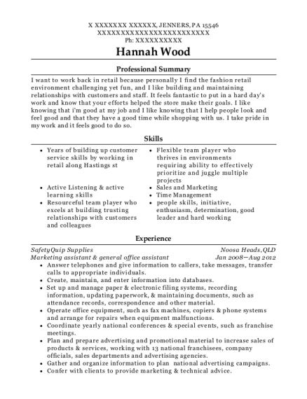 Marketing assistant & general office assistant resume sample Pennsylvania