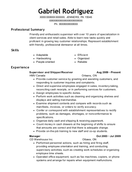 Supervisor and Shipper resume template Pennsylvania