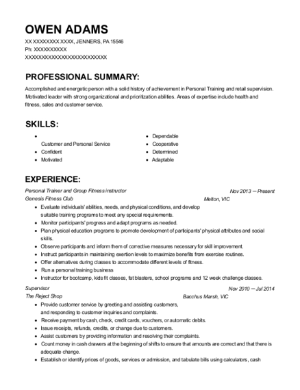 Personal Trainer and Group Fitness instructor resume sample Pennsylvania