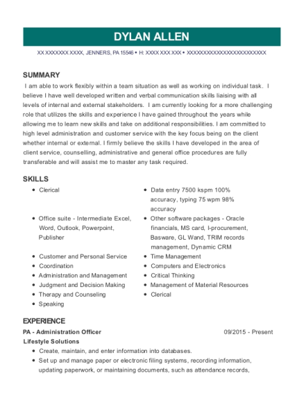 PA Administration Officer resume template Pennsylvania