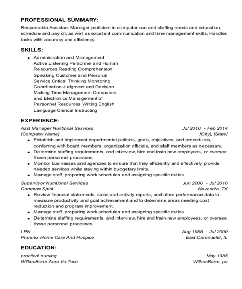Asst Manager Nuritional Services resume sample Pennsylvania
