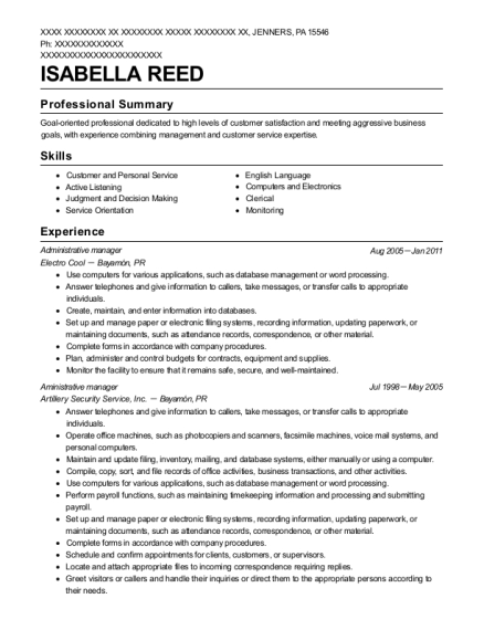 Administrative Manager resume example Pennsylvania