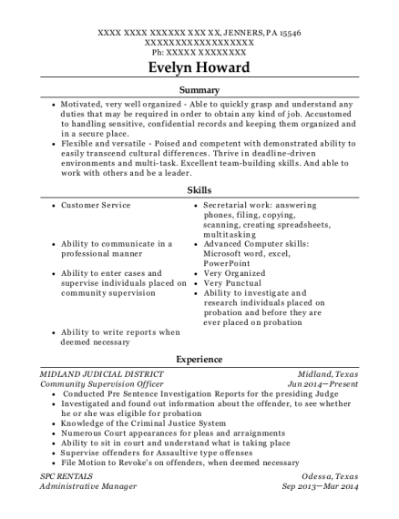 Community Supervision Officer resume example Pennsylvania
