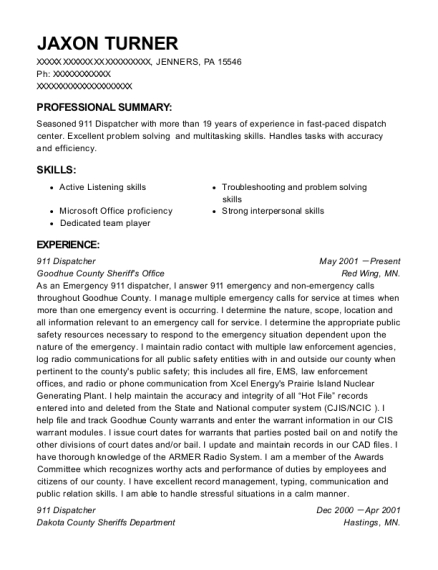 911 Dispatcher resume example Pennsylvania