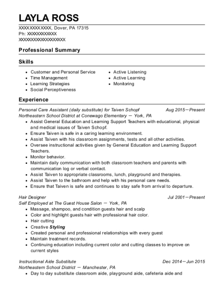 Personal Care Assistant for Taiven Schopf resume example Pennsylvania