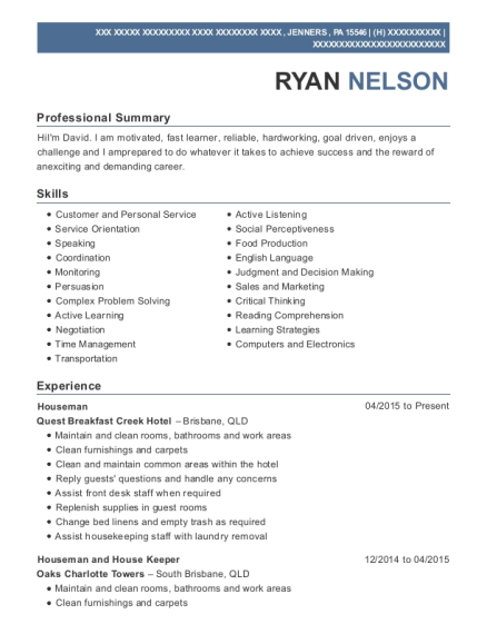 Houseman resume format Pennsylvania