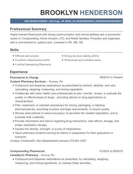 Pharmacist in Charge resume sample Pennsylvania