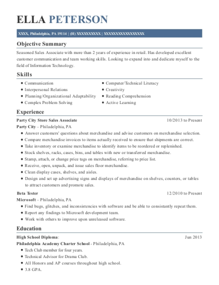 Party City Store Sales Associate resume template Pennsylvania