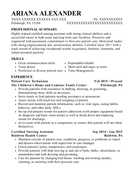 Patient Care Technician resume sample Pennsylvania