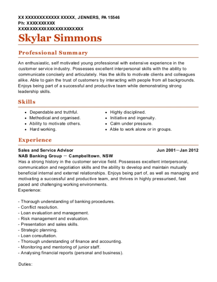 Sales and Service Advisor resume sample Pennsylvania
