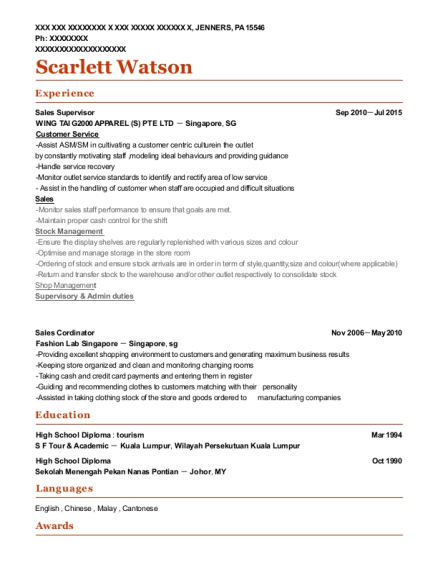 Sales Supervisor resume template Pennsylvania