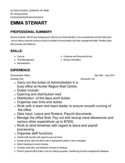 Administration Officer resume example Pennsylvania