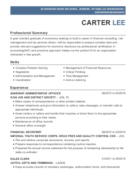 ASSISTANT ADMINISTRATIVE OFFICER resume sample Pennsylvania