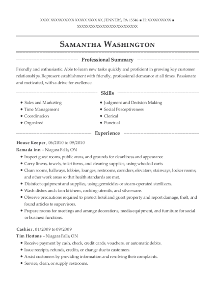 House Keeper resume format Pennsylvania