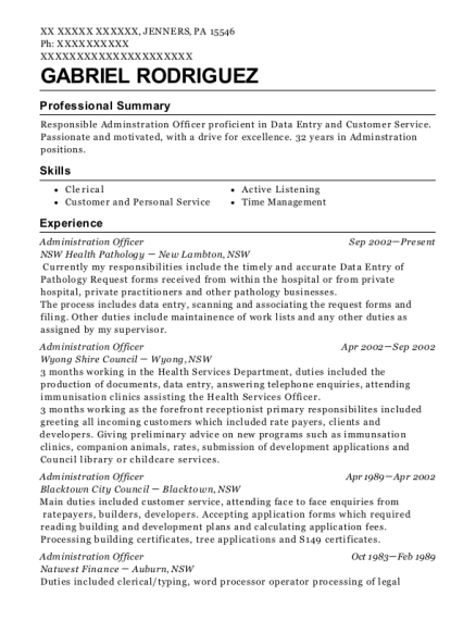 Administration Officer resume template Pennsylvania