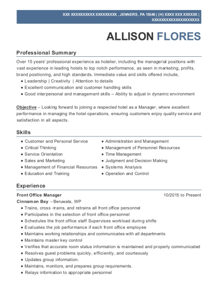 Front Office Manager resume format Pennsylvania