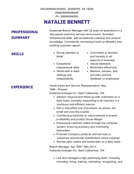Inside Sales and Service Representative resume sample Pennsylvania